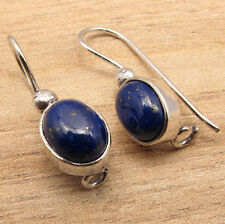 Authentic LAPIS LAZULI Stone Earrings ! Silver Plated Fashion Jewellery
