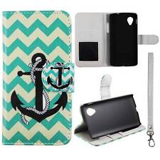 Flip Wallet Green Anchor Chevron For LG Optimus G LS970 Leather Cover Case
