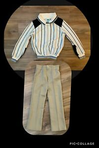 VINTAGE 80s BOY'S BULL FROG  SWEATER KHAKI PANTS OUTFIT SET SIZE 6 MADE IN USA