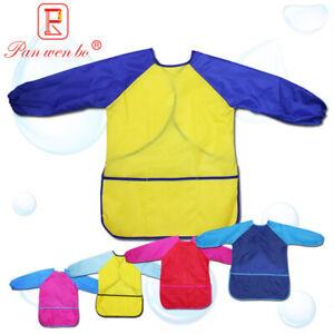 Kids Boy Waterproof Art Smock long sleeve painting shirt paint apron school Gift