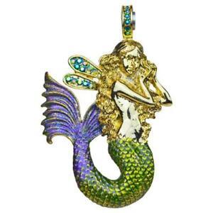 Kirks Folly Misty Mermaid Magnetic Enhancer Antique Goldtone Green & Purple