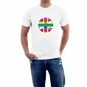 NEW Union Jack T-shirt SOFT SHIMMERING PRINT Rainbow Flag Gay Pride Eurovision