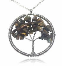Tree of Life Brown Stone and Wire Pendant Necklace
