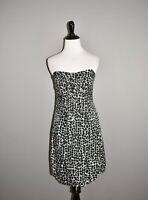 WHITE HOUSE BLACK MARKET $98 Black White Floral Silk Strapless Dress Size 0