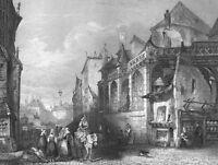 France, PARIS SAINT-GERMAIN L'AUXERROIS GOTHIC CHURCH ~ 1865 Art Print Engraving