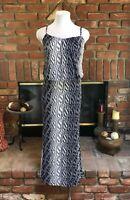 Bohemian Beach Hippie Chic S Multi NaVy & White Sleeveless Long Maxi Dress