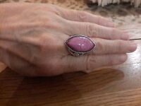 BRAND NEW SILVER TONE RING WITH A LARGE LILAC  STONE SIZE O+1/2  WITH GIFT BOX