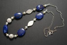 Genuine Real freshwater Pearl Lapis Lazuli Necklace mother handmade blue gold