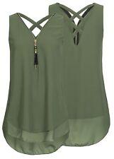 UK Women's V-Neck Blouses Tops Sleeveless Criss Cross Chiffon Tunic Shirt Zip Up