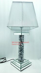 Diamond Crush Crystal Round Pillar Sparkly Mirrored Table Lamp Silver Shade FLAW