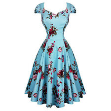 Hearts & Roses London Blue Floral Chintz Retro Vintage 1950s Flared Tea Dress UK