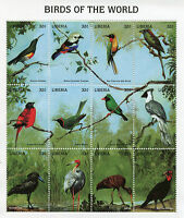 Liberia Stamps 1998 MNH Birds of World Sunbirds Tanagers Bulbuls Trogons 12v M/S