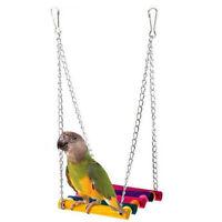 HN- Pet Wooden Ladder Climbing Swing Bird Parrot Parakeet Budgie Cage Hammock To