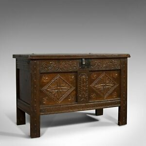 Compact Antique Coffer, English, Oak, Chest, Trunk, Early Georgian, Circa 1720