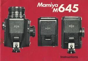 Mamiya M645 Instruction Manual Original
