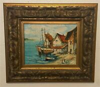 Vintage Gold Framed Oil on Board Wood Panel Painting - Harbor Scene, Waterscape