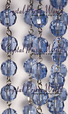 6 FT BLUE CRYSTAL GLASS CHAIN CHANDELIER WEDDING LAMP BEAD GARLAND NEW 12mm