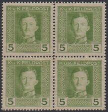 Österreich-Feldpost Nr. 56 - 5 Heller Kaiser Karl im 4er-Block postfrisch