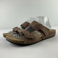 Clarks Artisan Perri Island Women 11 M Brown Nubuck Leather Slide Sandals Shoe