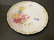 T & V Limoges 9 1/4 inch Plate Large Hand Painted Roses