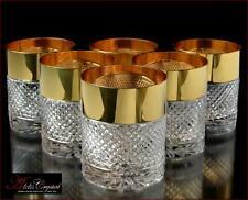 "Bohemia Crystal Whiskey Glasses 10 cm, 350 ml, ""Versace"" Gold 6 pc New!"