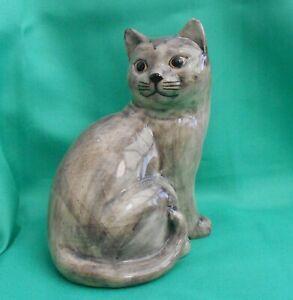 Quail Ceramic pottery Large Blue Grey Cat called Pushkin sitting down