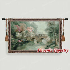 Hometown Bridge Tapestry Wall Hanging Jacquard Weave Large Gobelin 100% Cotton