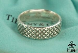 Tiffany & Co. Sterling Silver Moderne Studded Ring w/ Pouch (Engraved)