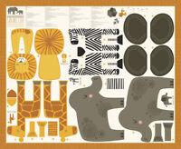SAFARI LIFE~MODA FABRIC PANEL~MAKES LION, ZEBRA, ELEPHANT,GIRAFFE~STACY IEST HSU