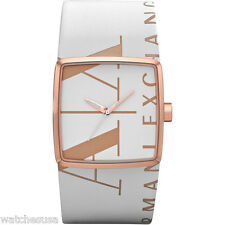 Armani Exchange Ladies' Wall Watch White Dial White Leather Band AX6009