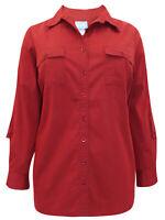 Ladies plus size 22-36 Roll tab shirt long sleeve cotton rich blouse top 248