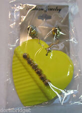 New Yellow Hearts w/ Gold Tone Spikes 2 Pair Pierced Earrings Set