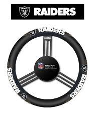 Oakland Raiders Black Vinyl Massage Grip Steering Wheel Cover
