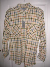 new Mens shirt size LARGE flannel plaid double pockets long sleeve ivory T11