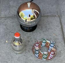 Midcentury Ball Bar with Shot Glass Liquor Dispenser Set Nice