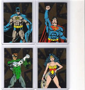 DC STARS COMPLETE 4 CARD FOIL SET #F1 -F4 SUPERMAN BATMAN WONDER WOMAN LANTERN