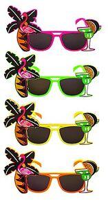 Tropical Party Novelty Sunglasses - Single - Assorted Colours- Flamingo Glasses