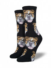 Bulldogster Crew Socks - Socksmith Bulldog Glasses NEW funky dog novelty socks
