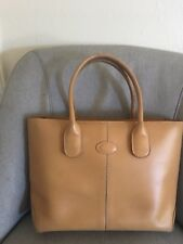 Authentic Tods Beige Leather Tote Princess Diana D Bag Italy