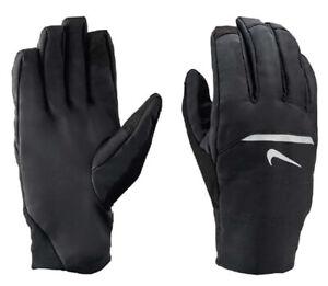 New NIKE Men's Black Aeorshield Touch Screen Flexible Running Gloves XL