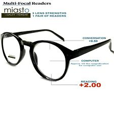 MIASTO MULTI-FOCAL (NO LINE BIFOCAL) COMPUTER READER READING GLASSES +2.00 BLACK