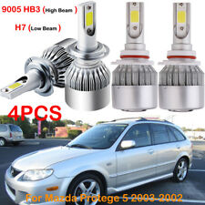 4X H7 9005 HB3 LED Headlight Bulbs Kits For Mazda Protege 5 2003-2002 Hi/Lo Beam