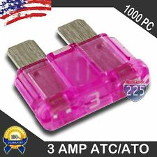 1000 Pack 3 AMP ATC/ATO STANDARD Regular FUSE BLADE 3A CAR TRUCK BOAT MARINE RV