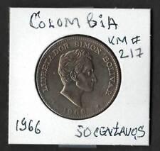 COLOMBIA 1966 Fine Copper-Nickel Coin 50 Centavos  KM# 58