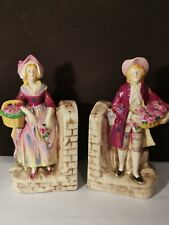 Vintage Bookends Flower Sellers Hand Painted