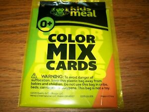Wendy's 2020 Color Mix Cards (What Specific Colors Make) Kids Meal Toy NIP 0+