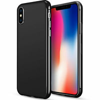 For Apple iPhone X TPU Case Rubber Skin Cover Black High Gloss Candy