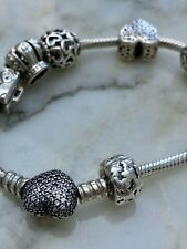 Genuine Sterling Silver Pandora Bracelet With 7 Silver Charms 7inch