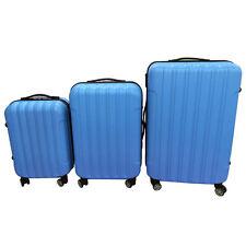 3PCS Travel Luggage Set Bag ABS Trolley Suitcase w/TSA lock Blue Rolling