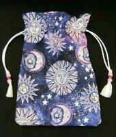 Sun Moon Stars Wicca Pagan Tarot Card Drawstring Mojo Bag Pouch ~ FREE SHIPPING